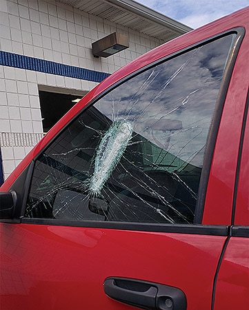 broken truck window